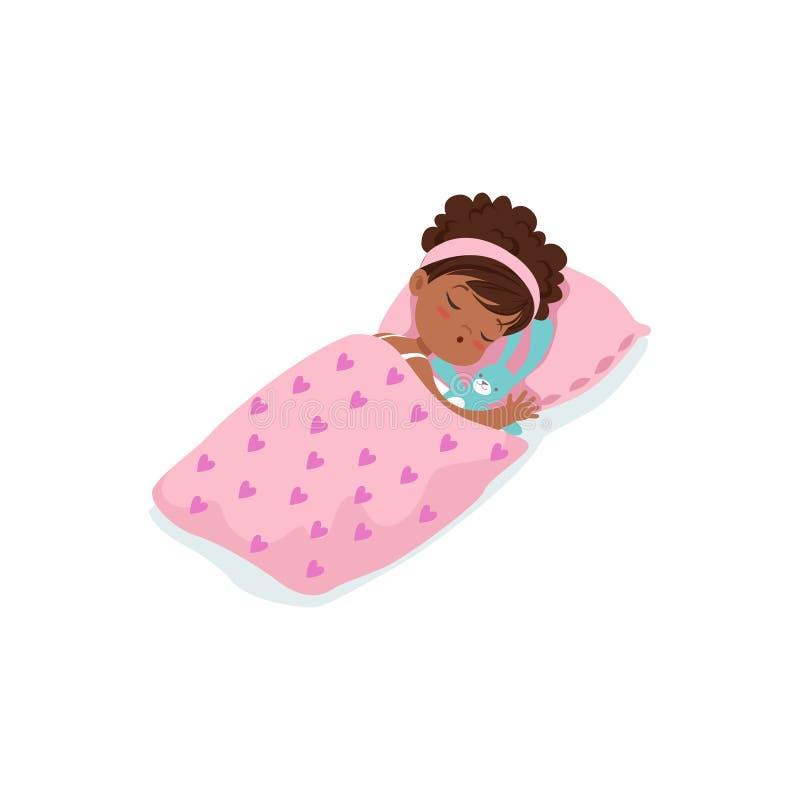 睡觉在她的床漫画人物传染媒介例证的可爱的非洲小女孩 皇族释放例证