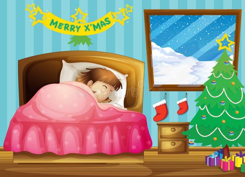 睡觉在她的有圣诞树的屋子里的女孩 皇族释放例证