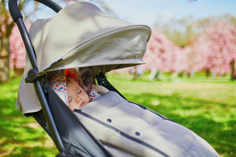 睡觉在婴儿车的一岁的女婴在公园 免版税库存照片