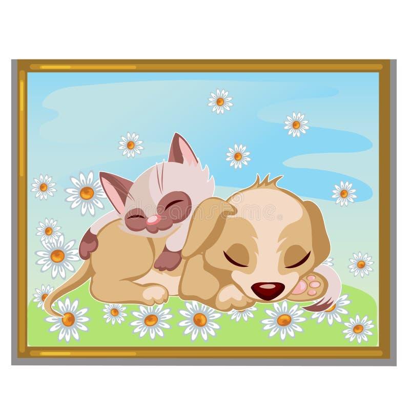 睡觉在小狗的逗人喜爱的小猫的图片 皇族释放例证