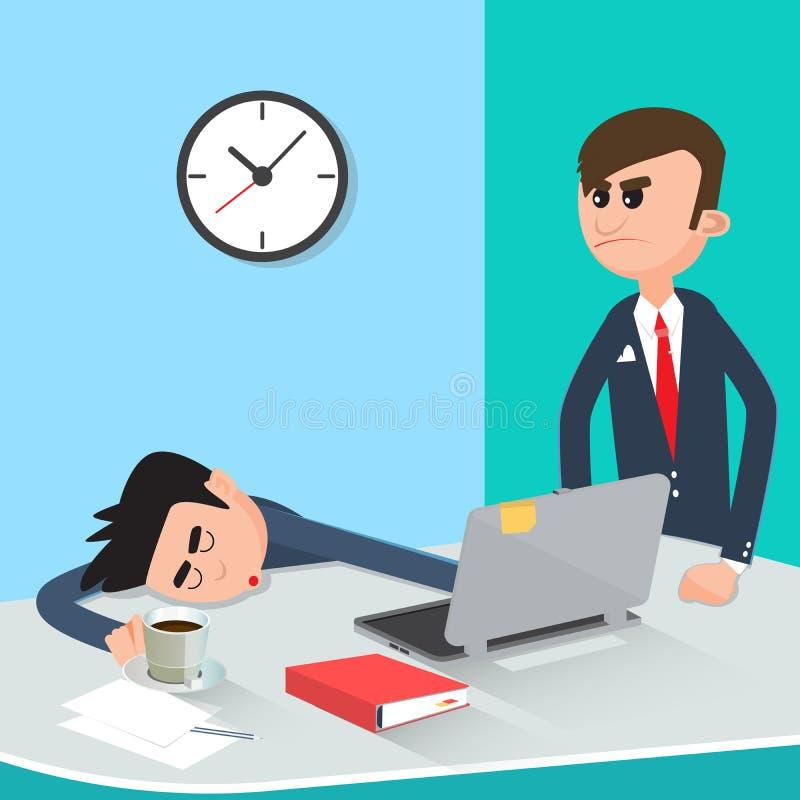 睡觉在工作的懒惰商人 恼怒的上司找到的睡觉的工作者 库存例证