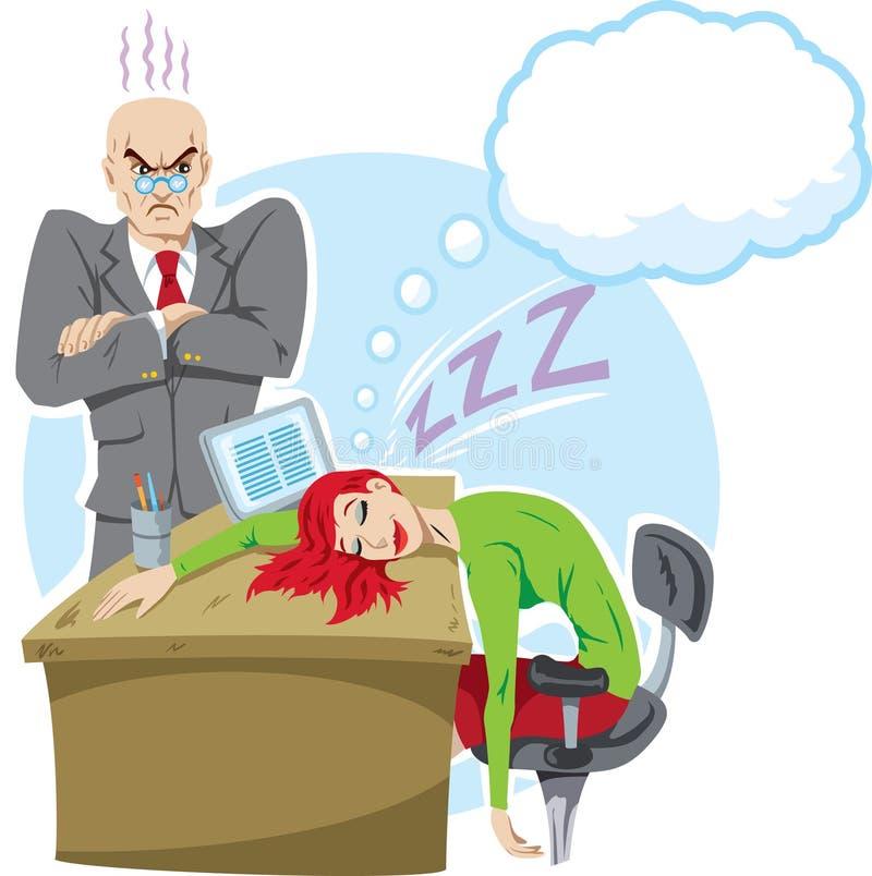 睡觉在工作 向量例证
