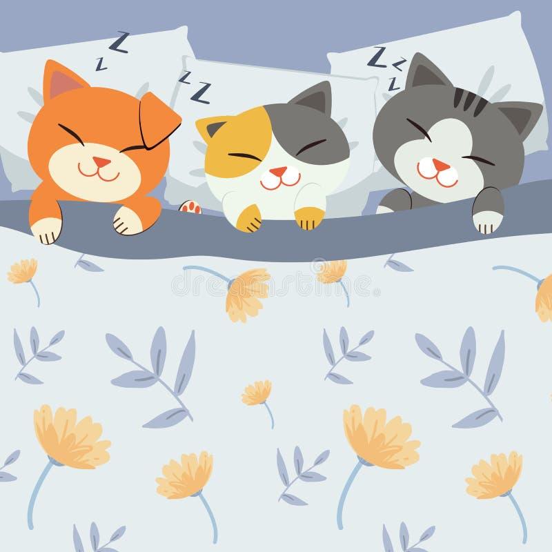 睡觉在床上的字符动画片逗人喜爱的猫 床花纹花样 皇族释放例证