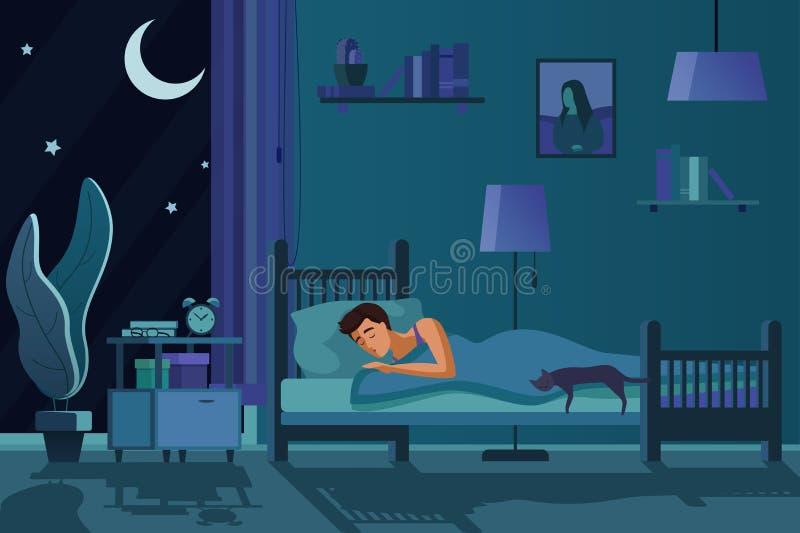 睡觉在床上的年轻疲乏的人盖用被子 学生男性睡眠在黑暗的平展卧室内部动画片的晚上 皇族释放例证
