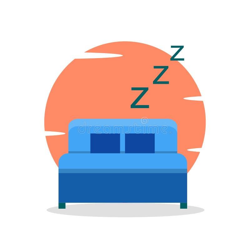 睡觉在床在夜,在枕头的舒适 库存例证