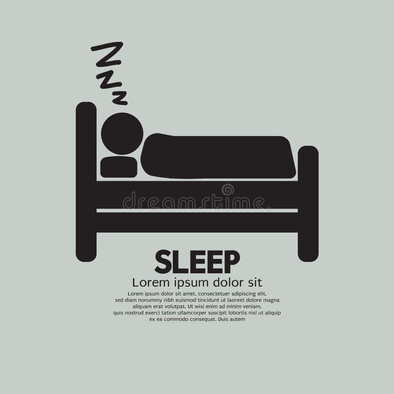 睡觉在床标志的人 向量例证