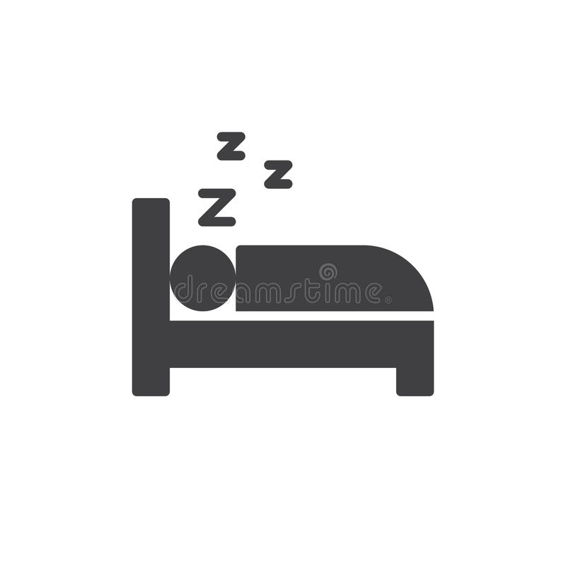 睡觉在床象传染媒介,被填装的平的标志,在白色隔绝的坚实图表 皇族释放例证