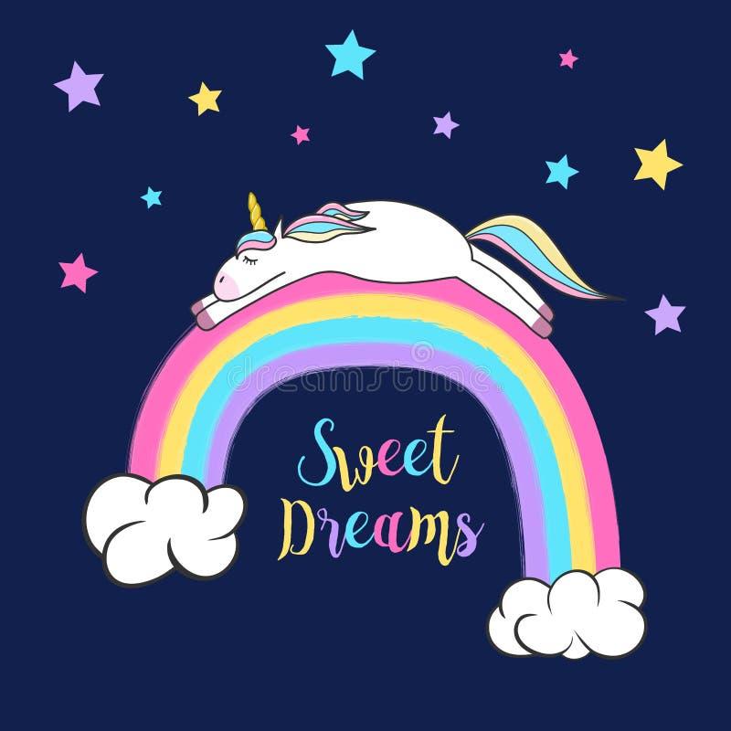 睡觉在彩虹的逗人喜爱的独角兽 库存例证
