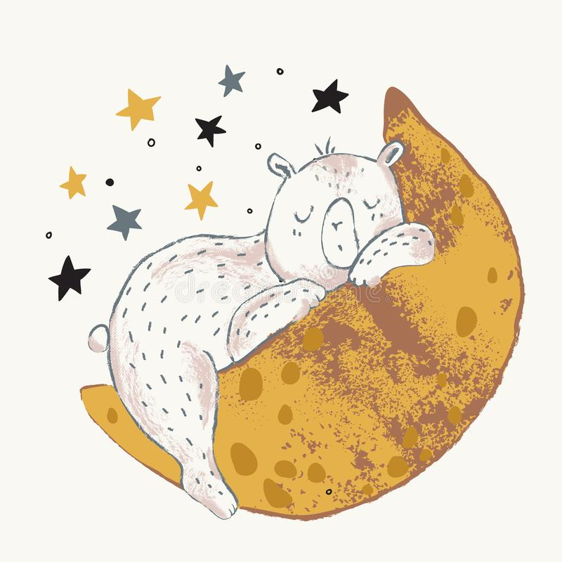 睡觉在斯堪的纳维亚样式的新月形月亮的逗人喜爱的小的熊 库存例证