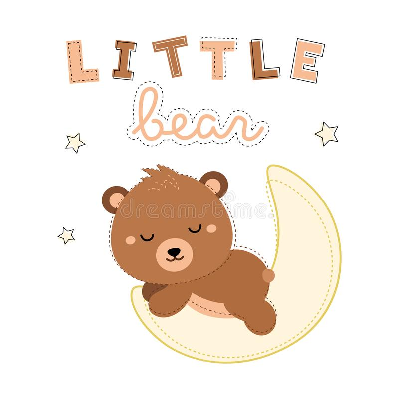 睡觉在月亮的可爱的小的熊 向量 背景黑色关闭设计蛋炸锅衬衣t 向量例证