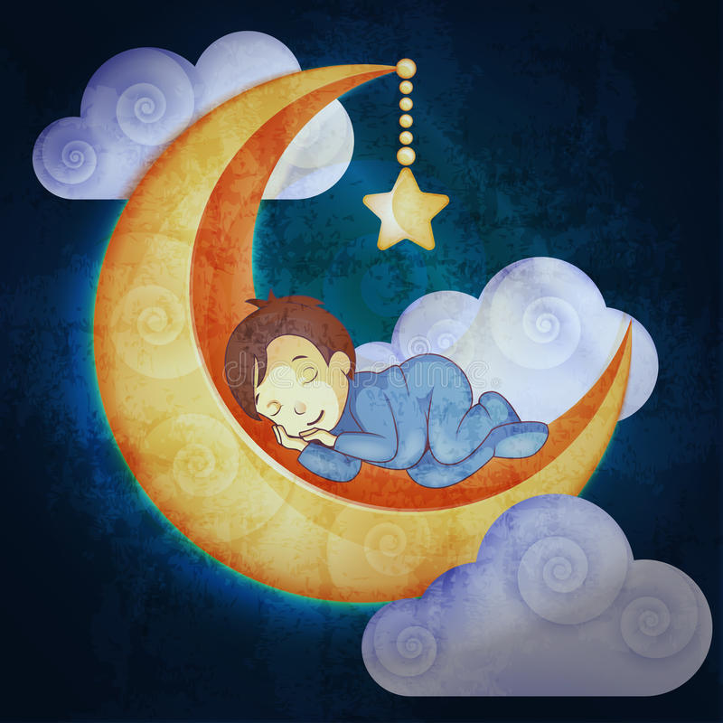 睡觉在月亮的小男孩 向量例证