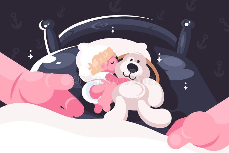 睡觉在有玩具玩具熊的小儿床的婴孩 库存例证