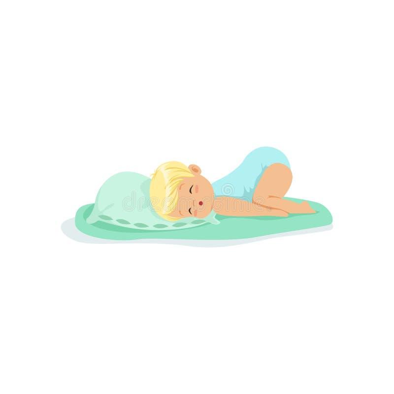 睡觉在枕头漫画人物传染媒介例证的可爱的小孩 向量例证