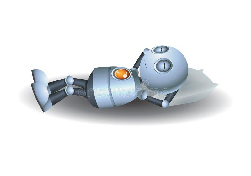 睡觉在枕头的小的机器人 库存例证