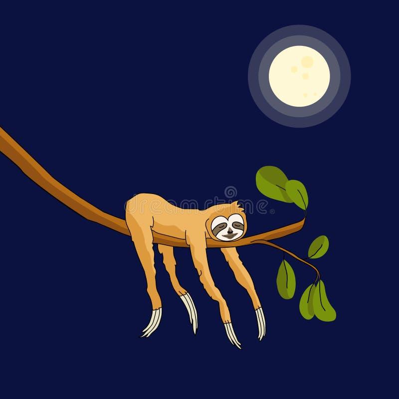 睡觉在树的可爱的怠惰 根据月亮的迷人的怠惰 纺织品印刷品的,海报,逗人喜爱的s热带样式 向量例证