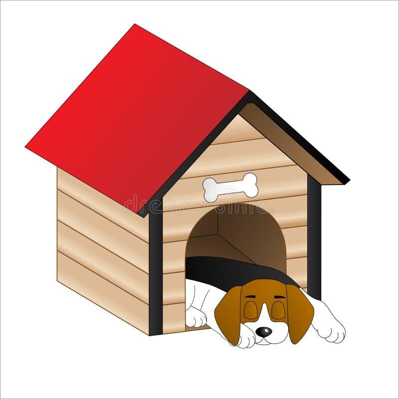 睡觉在犬小屋里的狗 库存图片