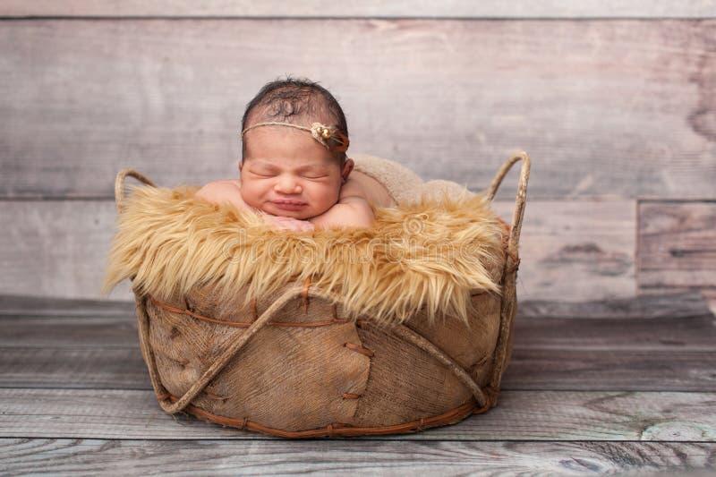 睡觉在篮子的微笑的女婴 库存照片