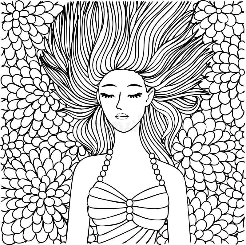 睡觉在设计元素和彩图页的花的手拉的美丽的女孩 也corel凹道例证向量 库存例证
