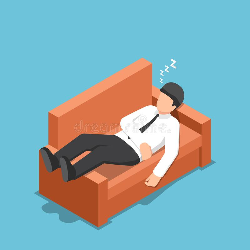 睡觉在长沙发的等量商人 库存例证