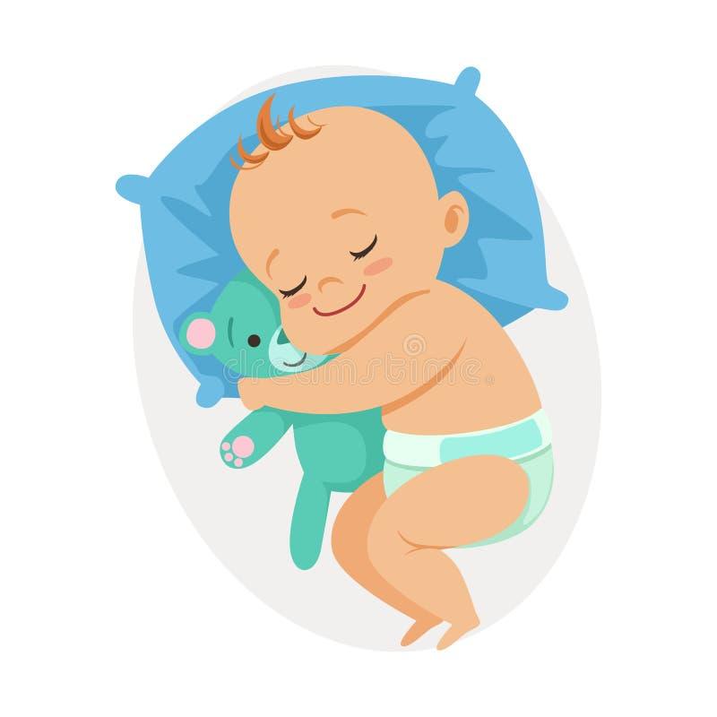 睡觉在他的床上和拥抱玩具熊,五颜六色的漫画人物传染媒介例证的甜矮小的婴孩 皇族释放例证