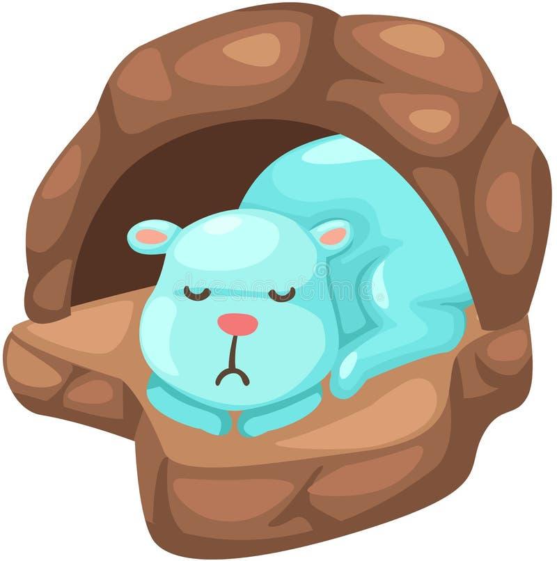 睡觉在洞的逗人喜爱的熊 皇族释放例证