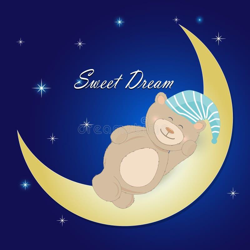 睡觉在nigjt天空背景的月亮的玩具熊 向量例证