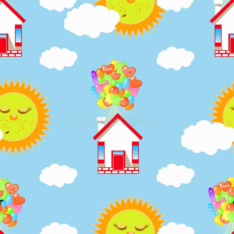 睡觉太阳和房子一个气球的有云彩的 向量例证