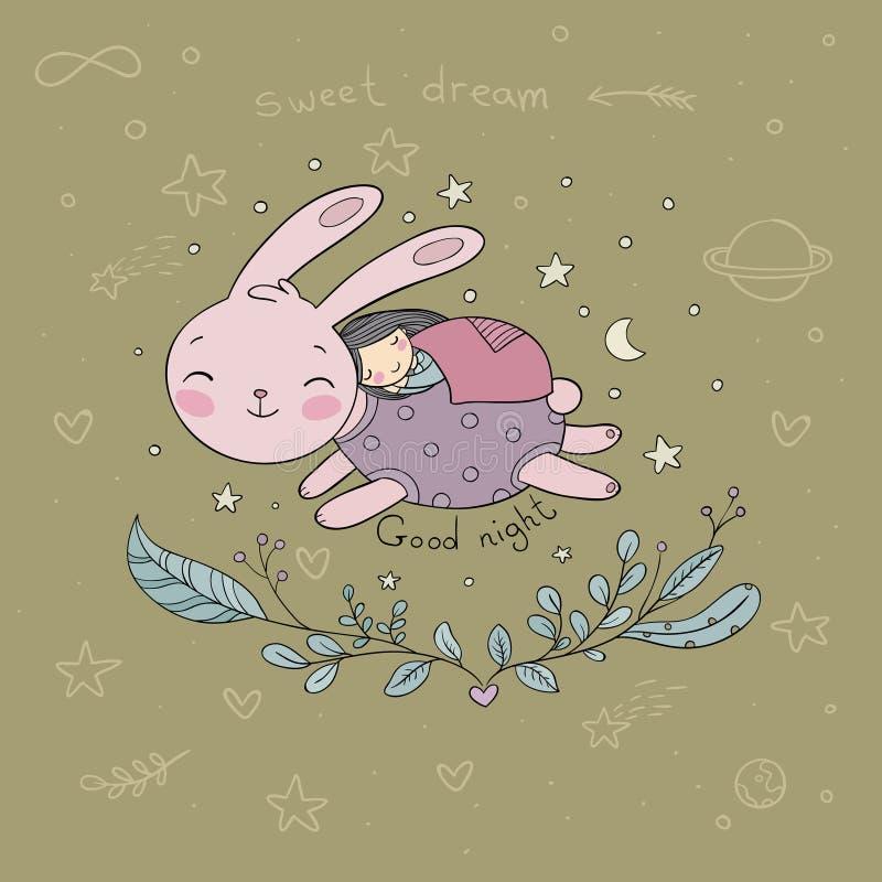 睡觉的动画片女孩和兔宝宝 库存照片