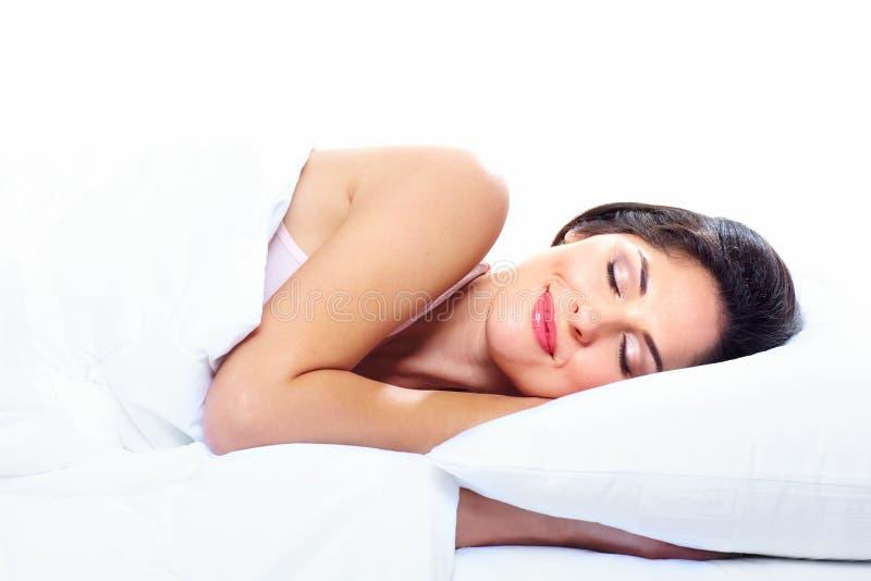 睡觉的妇女。 库存照片