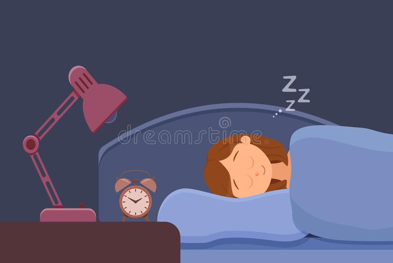 睡觉的妇女面孔卡通人物愉快的女孩有一晚安 有闭合的眼睛的人 库存例证