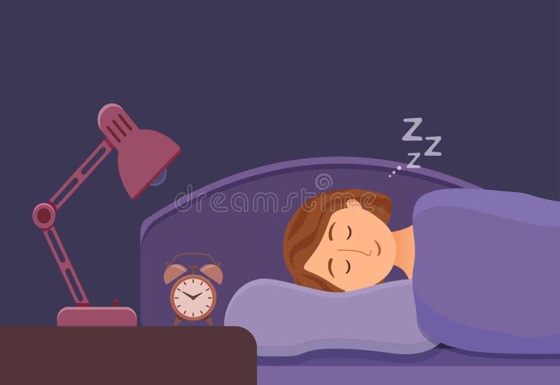 睡觉的妇女面孔卡通人物愉快的女孩有一晚安 有闭合的眼睛的人 皇族释放例证
