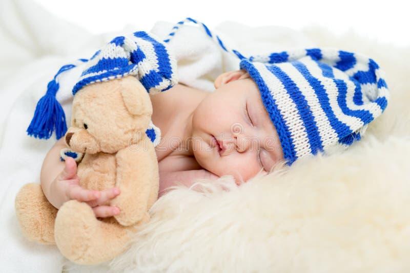 睡觉的小婴儿女孩 免版税库存图片