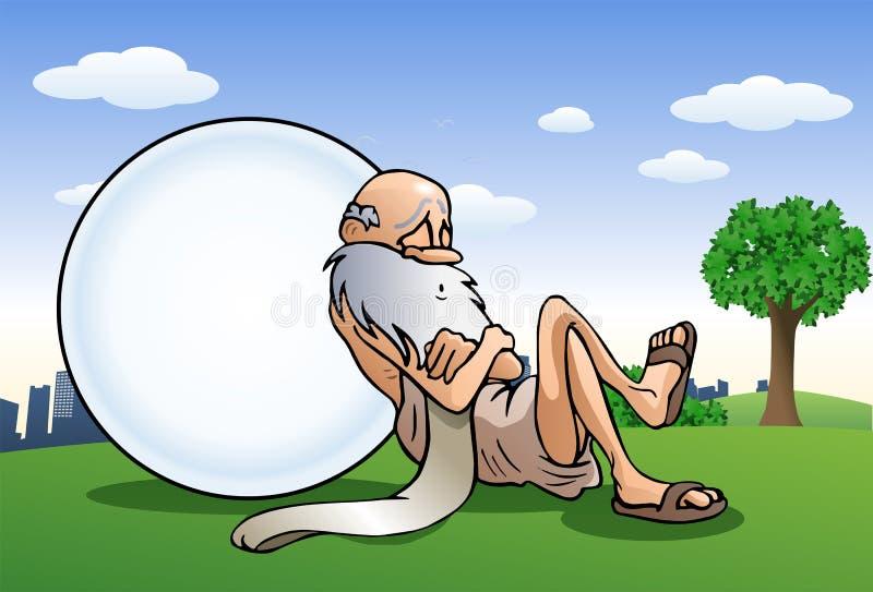 睡觉的老人采取在大球的休息倾斜 库存例证