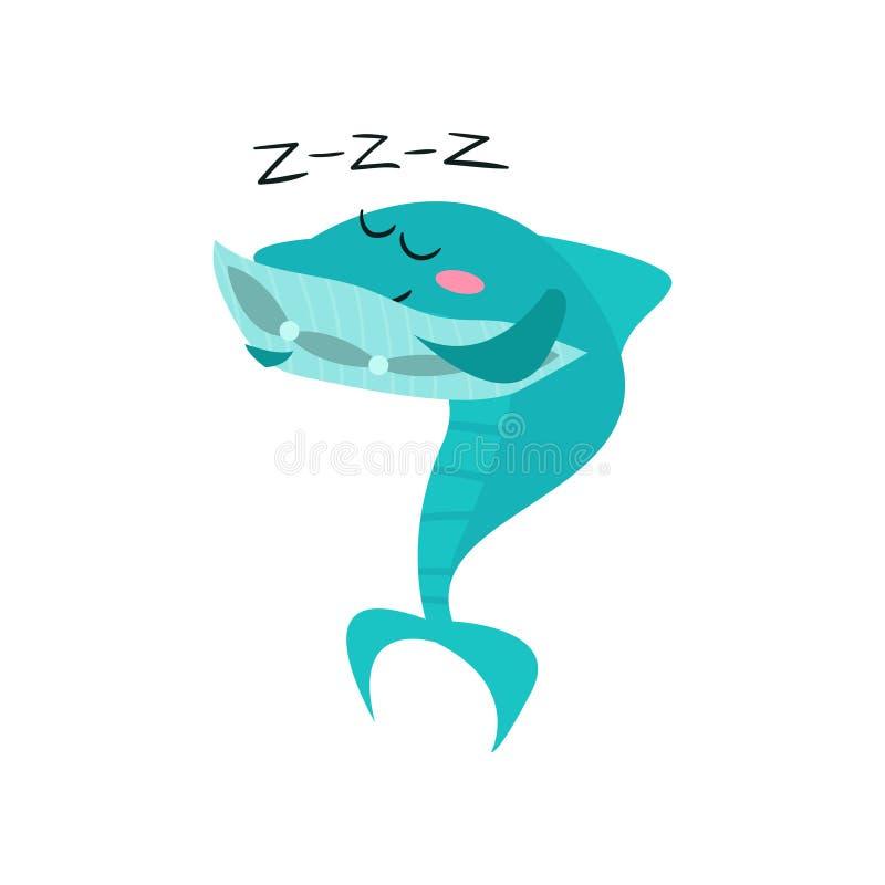 睡觉逗人喜爱的鲨鱼的漫画人物,滑稽的蓝色鱼导航例证 皇族释放例证
