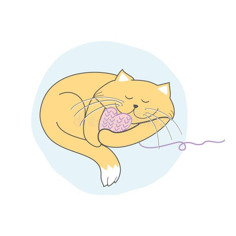 睡觉黄色猫拥抱被编织的桃红色心脏 库存例证