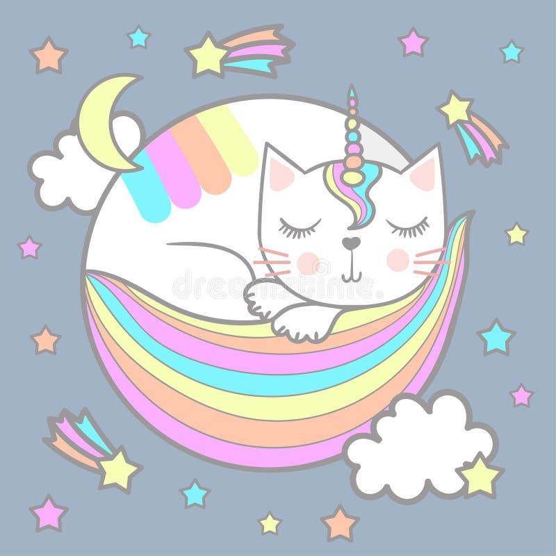 睡觉catwith独角兽垫铁 向量例证