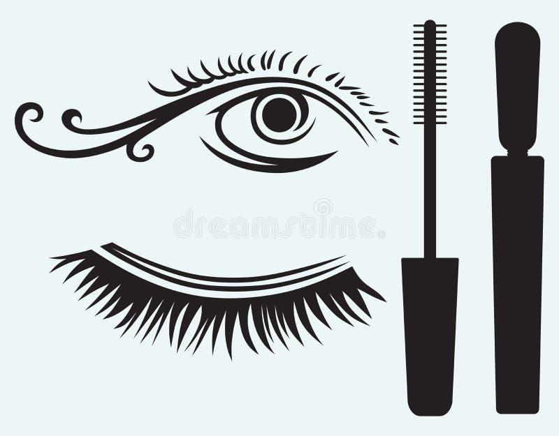 睫毛和眼睛的墨水 皇族释放例证