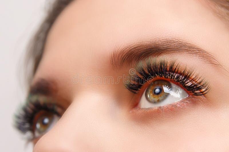睫毛引伸做法 与长的睫毛的妇女眼睛 关闭,选择聚焦 库存照片