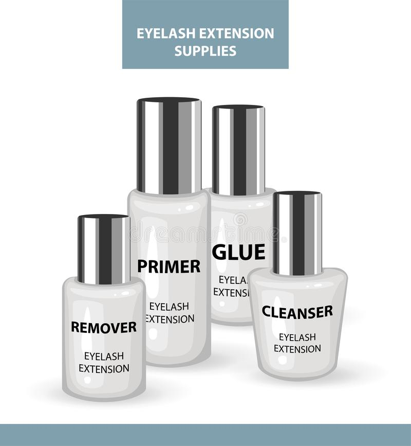 睫毛引伸应用工具和供应 去膜剂,底漆,清洁剂,胶浆 构成&化妆做法的产品 皇族释放例证