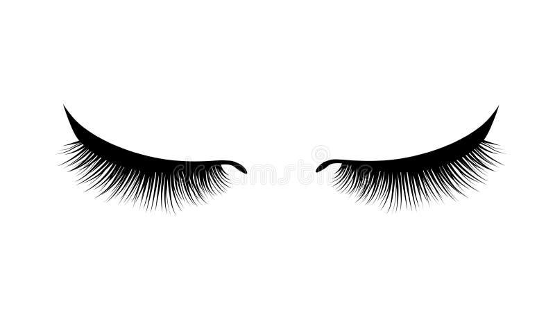 睫毛引伸 美丽的黑长的睫毛 闭合的眼睛 错误秀丽纤毛 染睫毛油自然作用 专业人员 库存例证