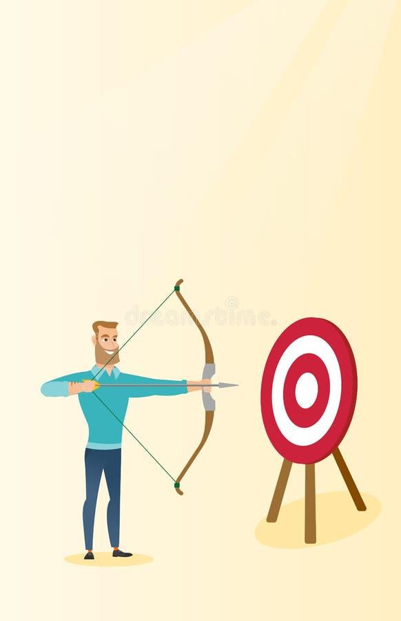 瞄准与弓箭的前浆手目标 向量例证