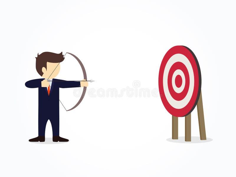 瞄准与弓箭的动画片商人目标 业务设计的传染媒介例证和infographic 皇族释放例证
