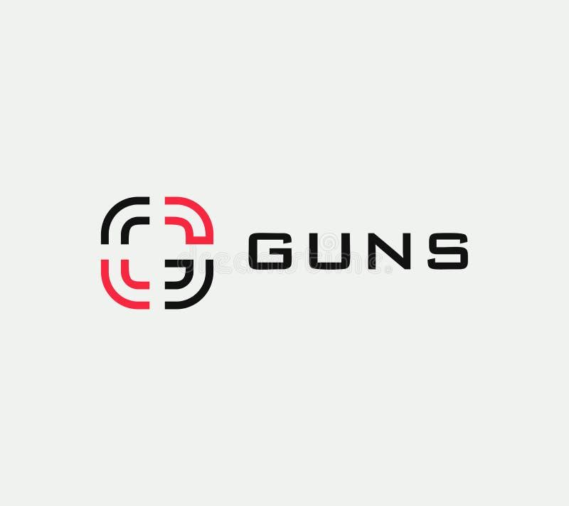 瞄准传染媒介线性风格化象,目标抽象标志,目标标志,枪企业商标模板,传染媒介例证  库存例证
