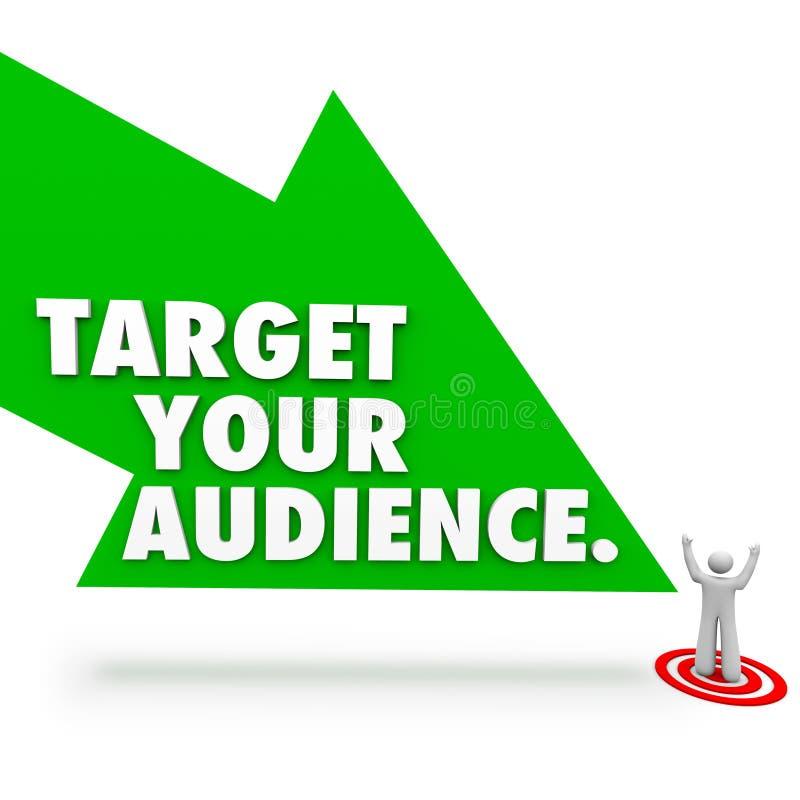 瞄准您的指向顾客远景的观众词箭头 库存例证