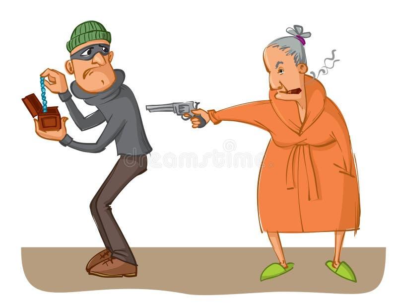 瞄准手枪的妇女强盗 库存例证