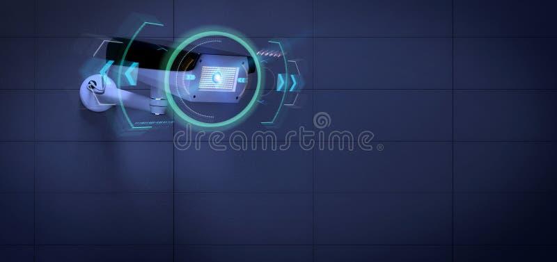 瞄准检测闯入- 3d的安全监控相机renderinga 向量例证
