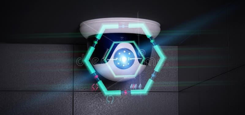 瞄准检测闯入- 3d的安全监控相机renderinga 皇族释放例证