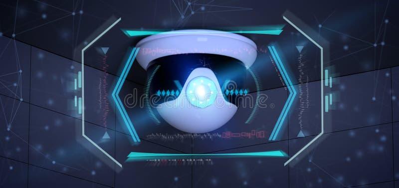 瞄准检测闯入- 3d的安全监控相机renderinga 库存例证