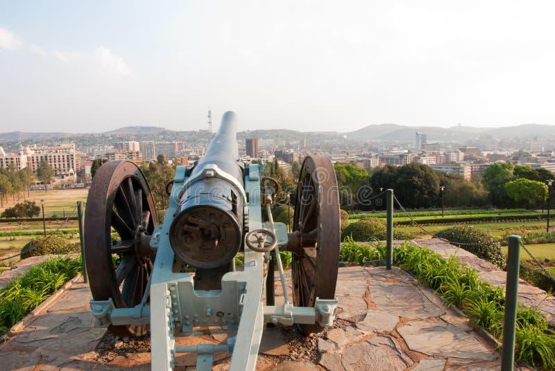 瞄准比勒陀利亚的大炮 库存照片