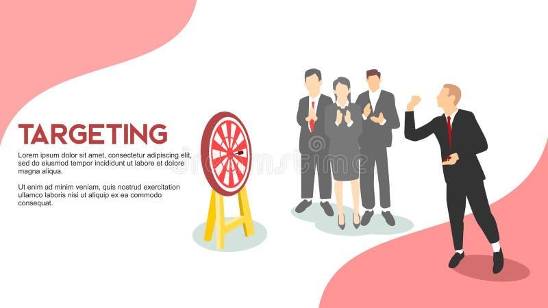 瞄准演奏与同事的商人箭欢呼和applausing simbolize企业营销目标成就平的s 库存例证
